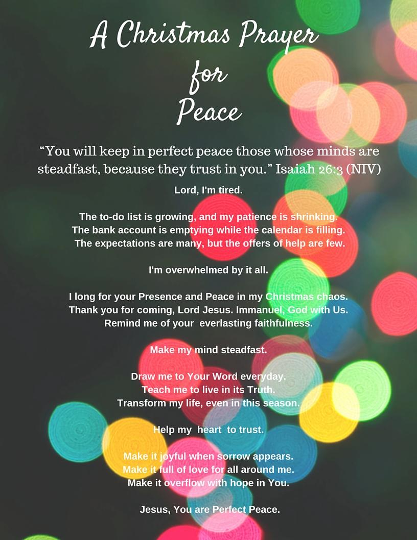 A Prayer for Peace in Christmas Chaos – Amy Carroll