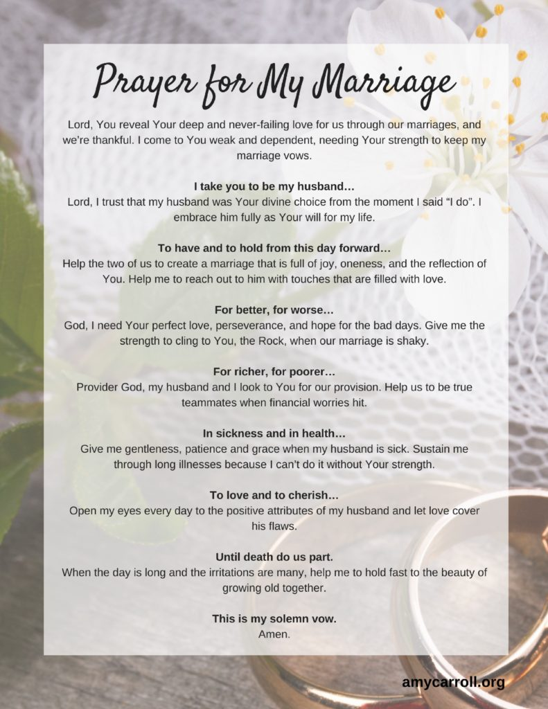 A Prayer For My Marriage Amy Carroll